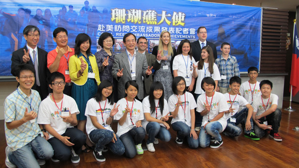 The Coral Reef Ambassadors gather with officials at the American Institute in Taiwan.