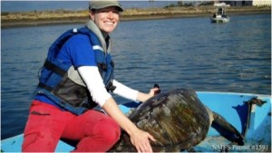 Scientist Cali Turner-Tomaszewicz is a PhD candidate at UCSD and focuses her research on age determination of sea turtles, specifically the duration of the juvenile life stage