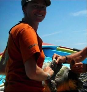 Cali Turner-Tomaszewicz inspects an injured Sea Turtle.