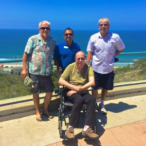 Associate Curator Fernando Nosratpour (center, blue shirt) joins Harry, Mark, and Bruce on Tidepool Plaza.