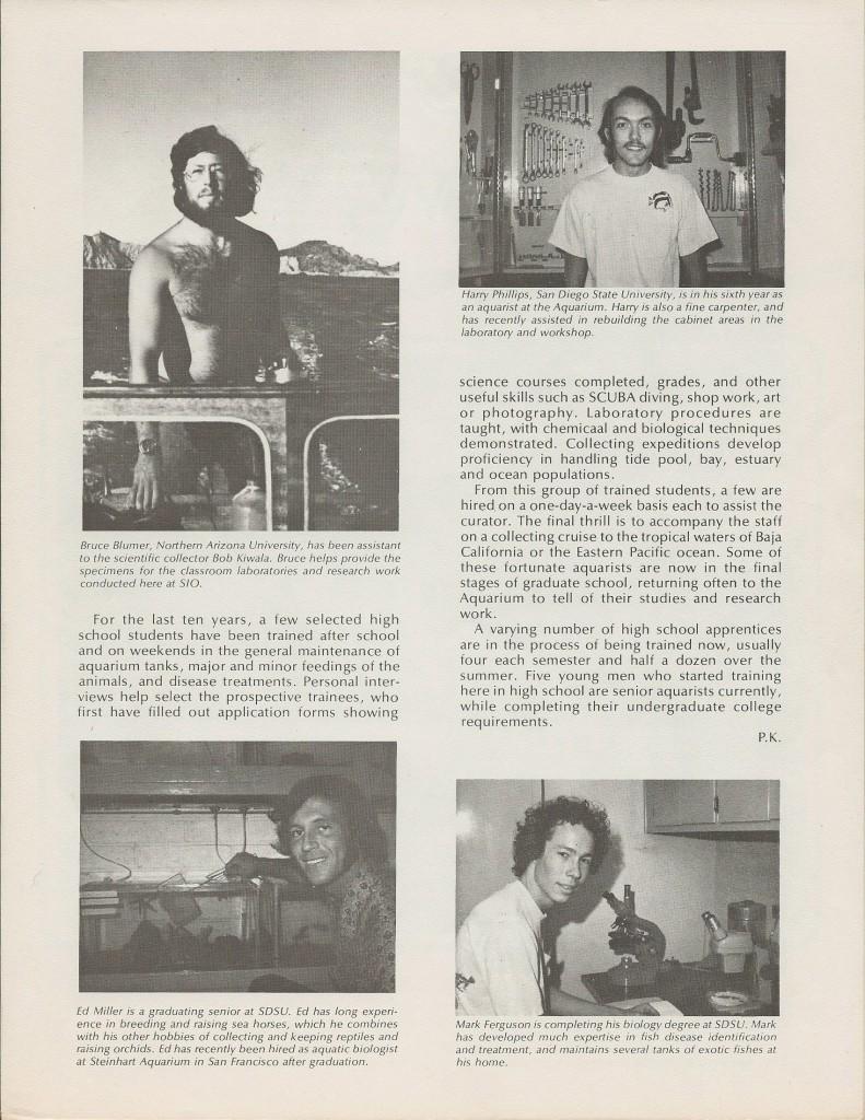 Scripps Aquarium News Letter Spring 1975