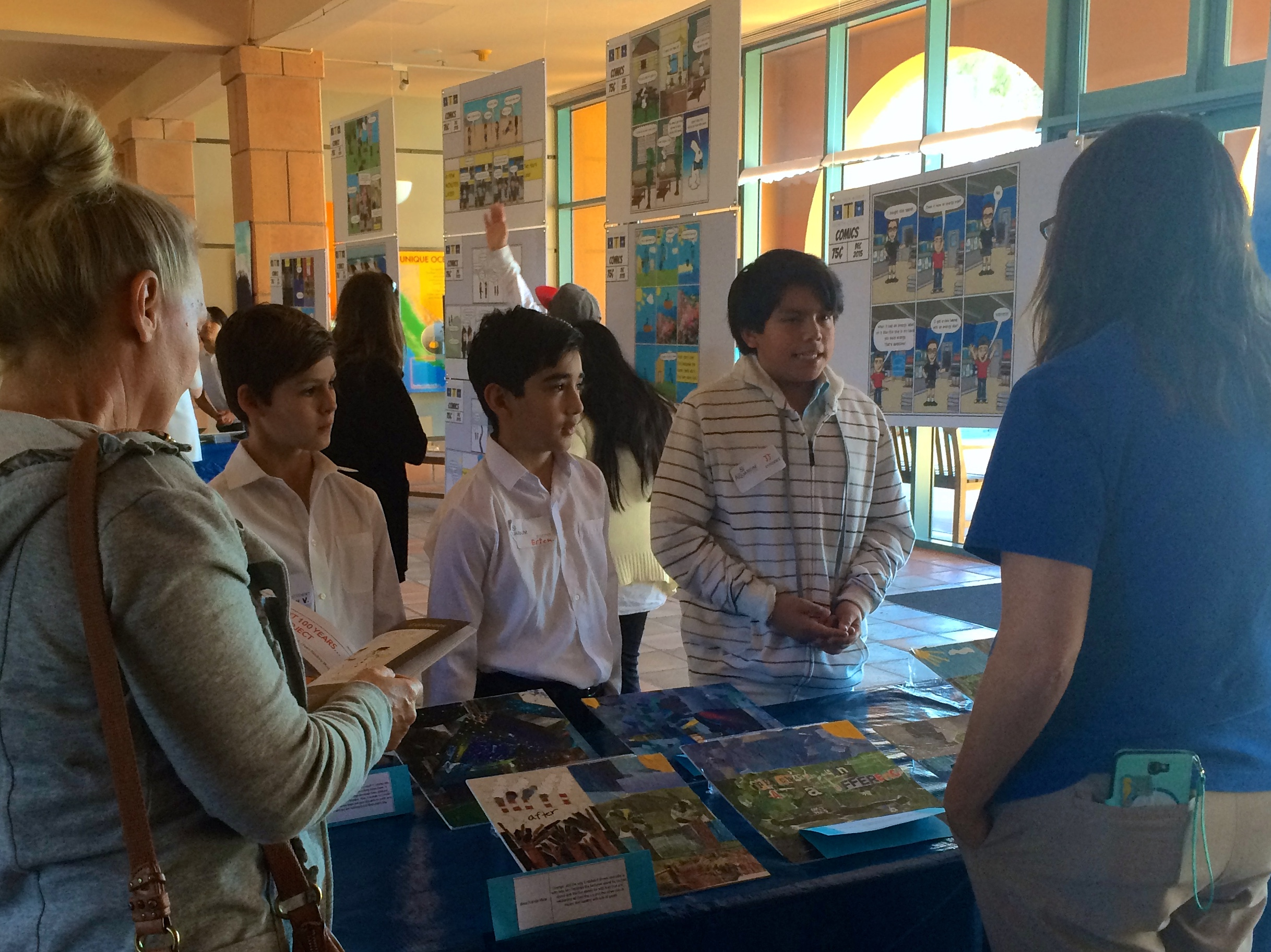 Students from High Tech Middle School in San Diego present their climate change projects.