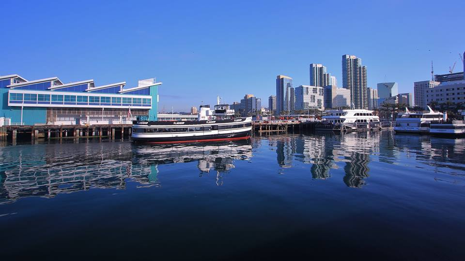 The Marietta, Flag Ship Tours and Event's whale watching boat, pulls up to the dock in Downtown San Diego.