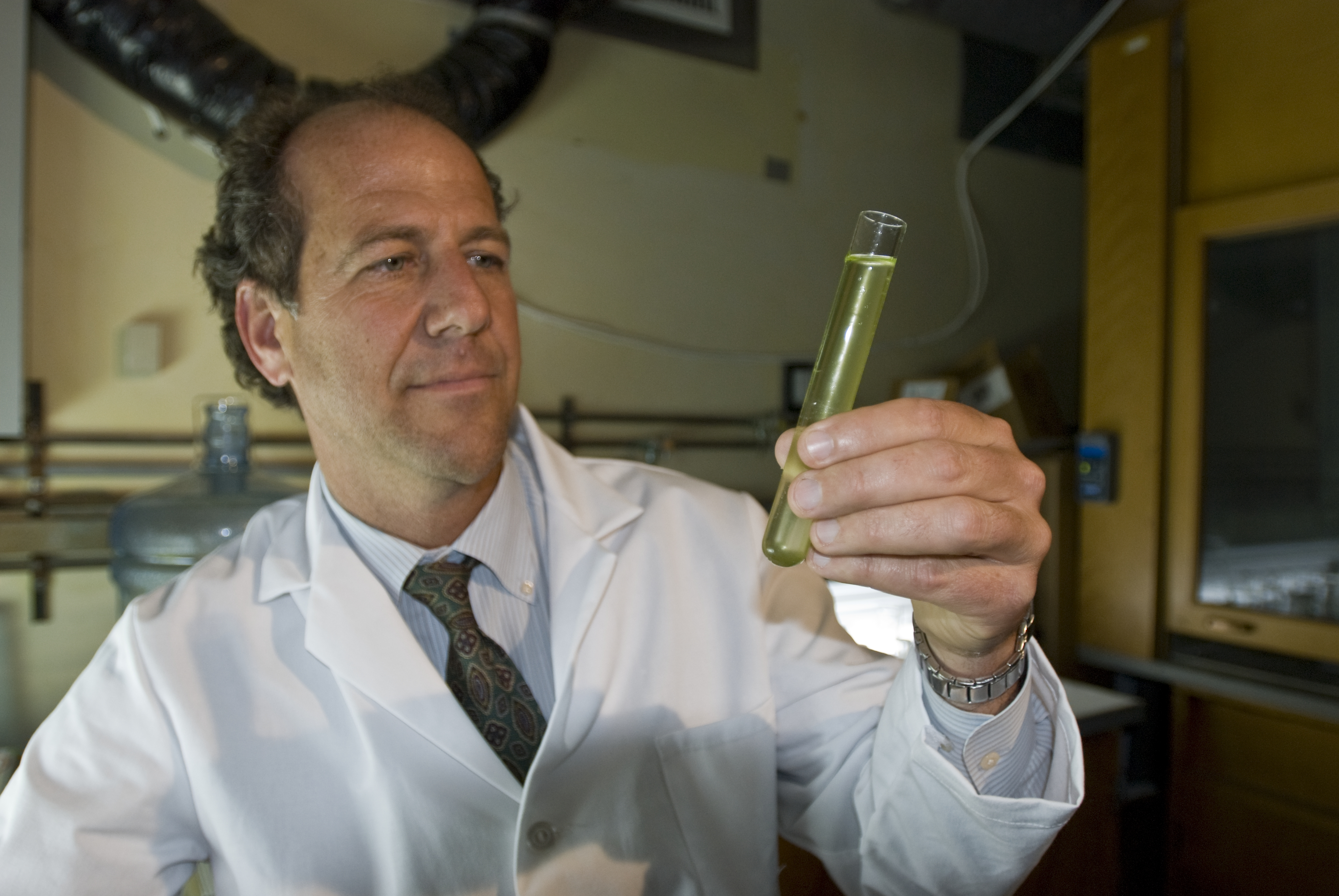 Scripps Oceanography marine biologist Greg Mitchell shows off flasks of algae being investigated as a potential source of biofuels.