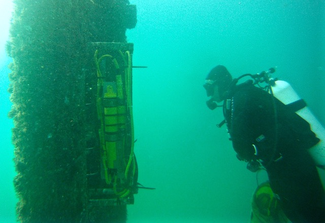 Instruments attached to Scripps Pier collect data that helps researchers evaluate changes in ocean conditions.