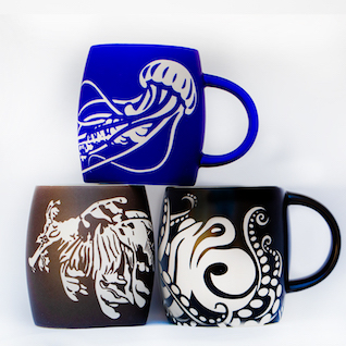 Birch Aquarium Etched Mugs Octopus, Jellyfish, Leafy Seadragon